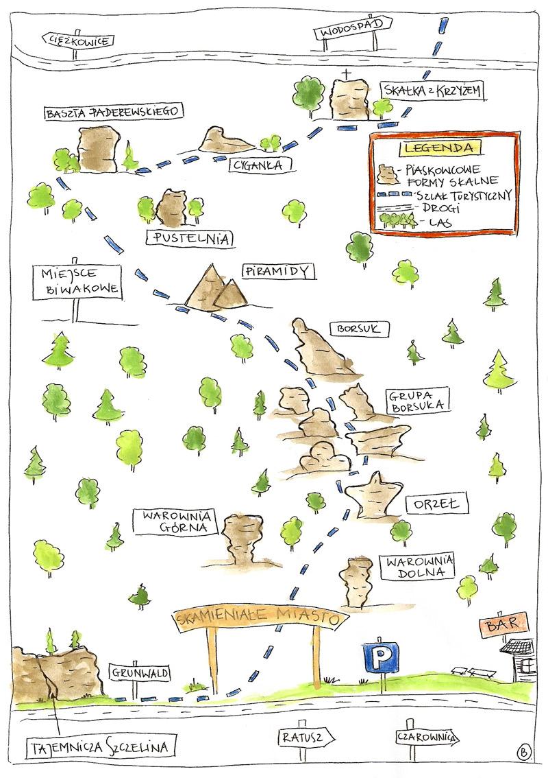 mapa Skamieniałe Miasto, Ciężkowice